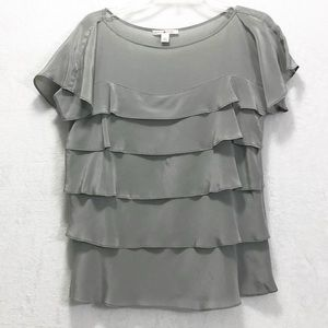 Banana Republic Ruffled Silk Top Gray size S